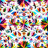 Otomi Style Seamless Pattern. Vector Seamless Mexican Otomi Style Bright Pattern Royalty Free Stock Photography