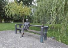 Oton Zupancic statue in Tivoli park. Ljubljana, Slovenia. Royalty Free Stock Photo
