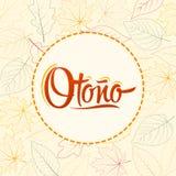 Otono, texte espagnol d'automne, conception de lettrage de vecteur avec le fond de feuille Photos stock