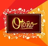 Otono, texte espagnol d'automne, conception de lettrage de vecteur avec le fond de feuille Photos libres de droits
