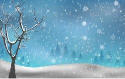 Otoño del árbol de navidad en fondo del invierno Imagenes de archivo
