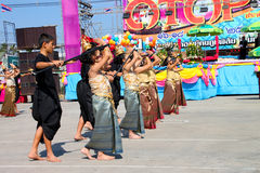 OTOP Festival Season. PAYAKKAPHUMPHISAI, MAHASARAKHAM - DECEMBER 17 : The unidentified Thai school children are performing their outdoor One Tambol One Product ( royalty free stock photos