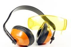 Otoprotettori ed occhiali di protezione Fotografie Stock Libere da Diritti