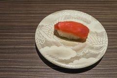 Otoro Tuna sushi, Japanese food white dish on wooden table Stock Images