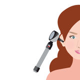 An Otoscope Being Used to Inspect an her Ear. Stock Photo
