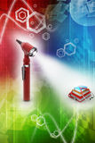 Otoscope and medical text books Royalty Free Stock Photo