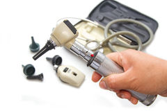 Otoscope and Opthalmoscope for ear eye examination  medical equ Royalty Free Stock Photography