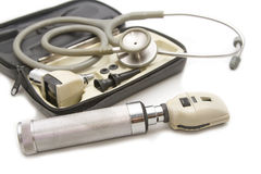 Otoscope and Opthalmoscope set for ear eye  examination with stethoscope Royalty Free Stock Photo