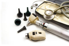 Otoscope and Opthalmoscope set for ear eye examination. With stethoscope , medical equipment Stock Photo