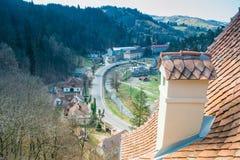 Otręby kasztel - widok od dachowego tarasu, Transylvania, Rumunia zdjęcie royalty free
