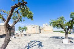 Otranto, Apulia - Marketplace in front of the historic city wall royalty free stock images