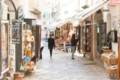 Otranto, Apulia - MAY 2017 - A touristic shopping lane within th royalty free stock photo