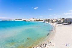 Otranto, Apulia - Relaxing at the beautiful beach bay of Otranto stock images