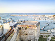 Otranto with Aragonese castle, Apulia, Italy. Otranto with historic Aragonese castle in the city center, Apulia, Italy Royalty Free Stock Image
