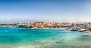 Otranto - coastal town in Puglia with turquoise sea. Italian vacation. Town Otranto, province of Lecce in the Salento peninsula, Puglia, Italy royalty free stock photos