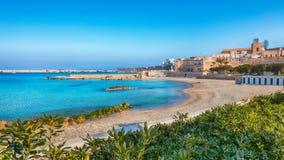 Otranto - coastal town in Puglia with turquoise sea. Italian vacation. Town Otranto, province of Lecce in the Salento peninsula, Puglia, Italy royalty free stock image