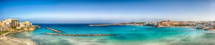 Otranto - coastal town in Puglia with turquoise sea. Italian vacation. Town Otranto, province of Lecce in the Salento peninsula, Puglia, Italy stock photography