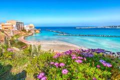 Otranto - coastal town in Puglia with turquoise sea. Italian vacation. Town Otranto, province of Lecce in the Salento peninsula, Puglia, Italy royalty free stock images