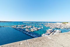 View over harbour at Otranto, puglia, italy. Otranto is a coastal town in southern Italy's Apulia region. It's home to the 15th-century Aragonese Castle and Stock Photos