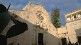 Otranto cathedral - indian fig Apulia - Salento - Italy stock video footage