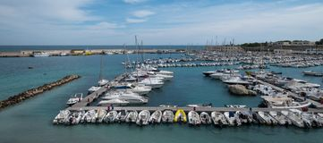Wide angle panorama of the port of Otranto on the Salento peninsula, Puglia, South Italy. Otranto, Italy. Wide angle panorama of the port of Otranto on the royalty free stock images