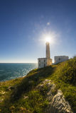 Otranto lighthouse over blue adriatic sea Royalty Free Stock Images