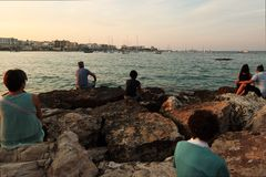 People waiting for the procession  at Otranto - Italy Stock Photography