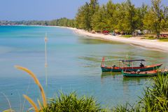 Otres beach view from mountain in sihanoukville province. Sokha is a beautiful beach with its one-kilometer crescent and comparatively wide so that there is stock photo