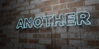OTROS - Señal de neón que brilla intensamente en la pared de la cantería - 3D rindió el ejemplo común libre de los derechos stock de ilustración
