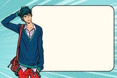 Otrygg stil för anime för manga för modestudenthipster stock illustrationer