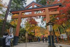 Beautiful fall color of Hiyoshi Taisha. Otsu, NOV 23: Beautiful fall color of Hiyoshi Taisha on NOV 23, 2017 at Otsu, Shiga, Japan Royalty Free Stock Photos
