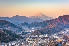 Otsuki, Japan Skyline with Mt. Fuji stock photos