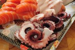 Otsukuri Sashimi. Japanese fish Sashimi Octopus salmon royalty free stock photos