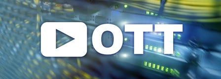 OTT, IPTV, vídeo que flui sobre o Internet Encabeçamento da site fotos de stock royalty free