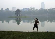 Hoan Kiem lake, Hanoi Arkivfoto