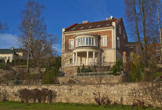 Сottage with colonnade. Modern two-storied city cottage colonnade Royalty Free Stock Photography