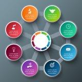 Ottagono di vettore con i cerchi per infographic Immagini Stock Libere da Diritti