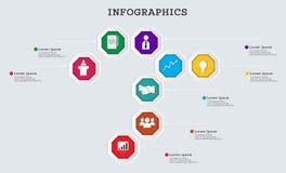 Ottagono di vettore infographic Può usare per il modello di affari moderno Immagini Stock