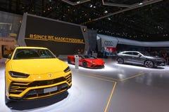 ottantottesimo salone dell'automobile internazionale di Ginevra 2018 - supporto di Lamborghini immagini stock