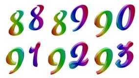 Ottantotto, ottantanove, novanta, novanta uno, novantadue, novantatre, 88, 89, 90, 91, 92, 93 3D calligrafici ha reso le cifre royalty illustrazione gratis