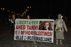 ottavo della dimostrazione Roma di destra del ` s delle donne del marzo fotografia stock libera da diritti