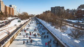 Ottawa's Rideau Canal Skateway. The Rideau Canal, also known unofficially as the Rideau Waterway, connects the city of Ottawa, Ontario, Canada, on the Ottawa Stock Image