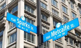 Ottawa. Sparks and metcalfe street sign in ottawa Stock Photography
