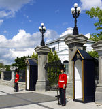 Ottawa. Royal ceremonial guards at the entrance to Rideau Hall in Ottawa Ontario Canda Stock Photography