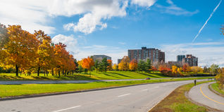 Ottawa along the riverside parkway - winding paved roads make for an outing in autumn afternoon sun. Traffic along Ottawa riverside parkway - runners on winding Royalty Free Stock Photos