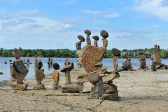 Ottawa Bawi Balanced Art World International Festi. Balanced stone sculptures on the Ottawa River on display after the first-ever Ottawa Bawi Balanced Art World Stock Images