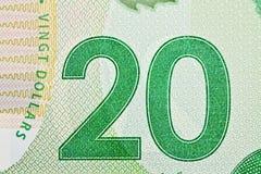 Ottawa, Canadá, Avril 13, 2013, close up extremo de notas de dólar novas do polímero vinte Foto de Stock Royalty Free