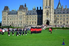 OTTAWA, CANADA - August 13, 2013: The Changing Guard Ceremony takes place at Parliament Hill stock photography