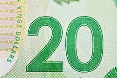 Ottawa, Canada, Avril 13, 2013,  Extreme Closeup of New Polymer Twenty Dollar Bills Royalty Free Stock Photo