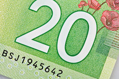 Ottawa, Canada, Avril 13, 2013,  Extreme Closeup of New Polymer Twenty Dollar Bills Stock Images